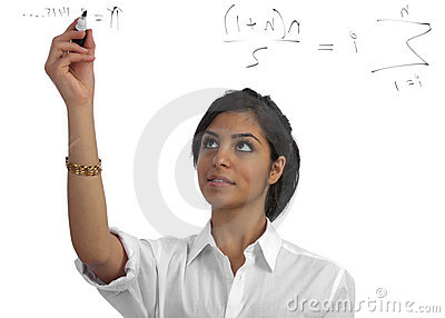 Young teacher presenting equations