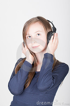 Young teen girl with headphones