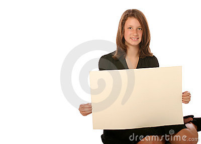 Young teen girl holding blank board