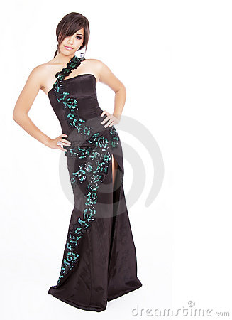 Young teen girl wearing black gown