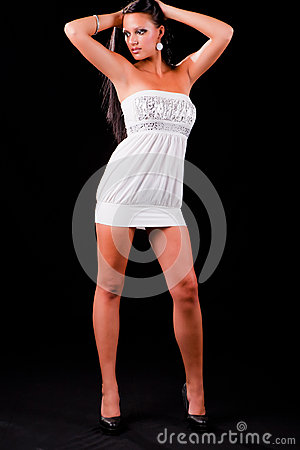 Young teen in white dress