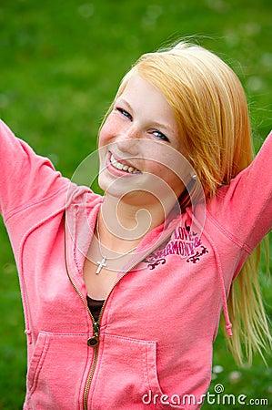 Young teenage girl having fun