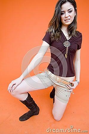 Young Teenage Girl on One Knee