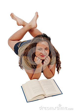 Young Girl With Book Smiling Isolated on White