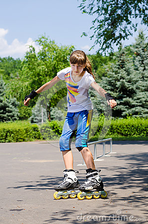 Young teenage girl in a skate park