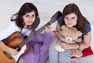 Young teenager girls relaxing