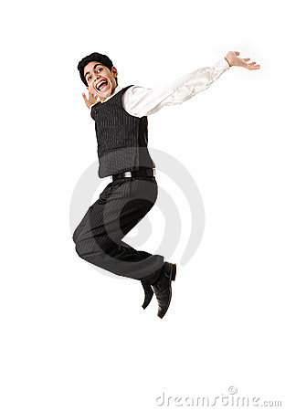 Young  teenager jumping in joy