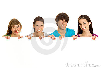 Young teenagers holding copyspace