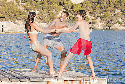 Young teens on mallorca vacation