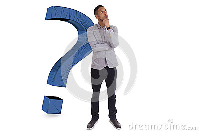 Young thoughtful african american man  surrounded by question ma
