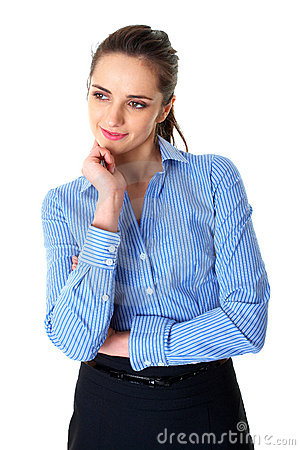 Young thoughtful female in blue shirt isolated