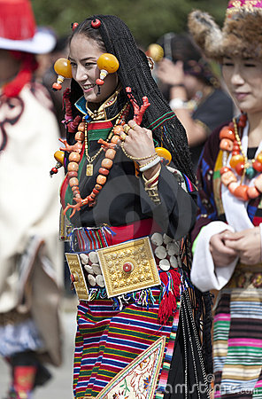 Young Tibetan woman in Yunnan Province Editorial Photo