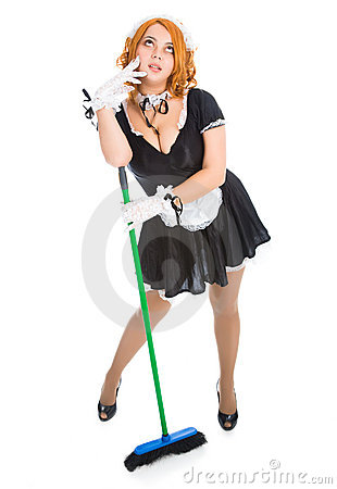 Young tired housemaid with broom