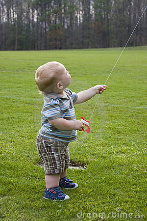 Free Young Toddler Flying Kite Stock Image - 13846761