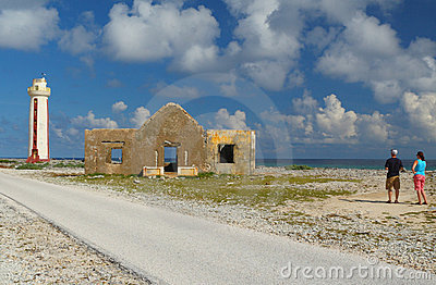 Young Tourist Couple at Lighthouse - Bonaire