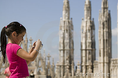 Young tourist on the top of Duomo di Milano