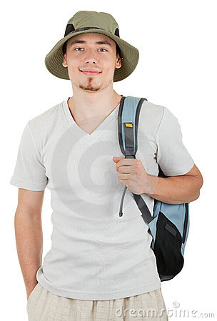 Young tourist on white