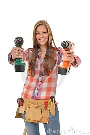 Free Young Trainees With Two Self-drilling Screws Stock Photography - 20736862