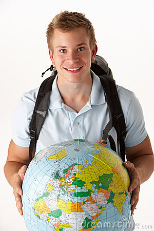 Free Young Traveller With Globe Stock Images - 21591574