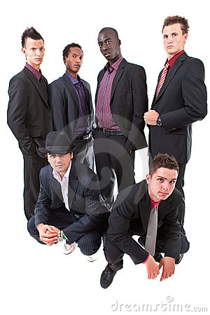 Young trendy interracial businessmen