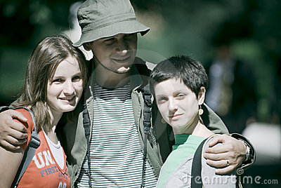 Young trio on camping trip