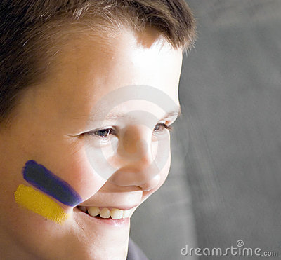 Young Ukrainian team fan.