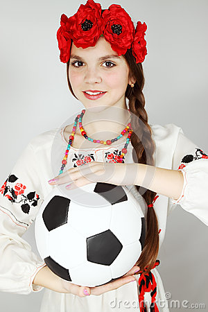 Young Ukrainian woman with  ball