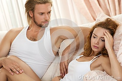 Young upset couple having problem