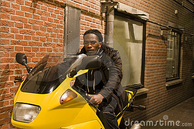 Young Urban African American Male on Motorcycle