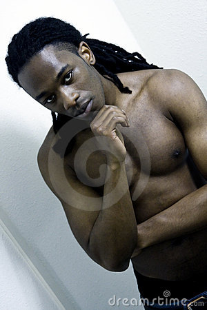 Young Urban African American Male Shirtless