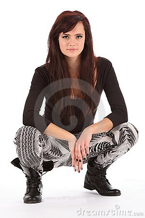 Free Young Urban Dance Girl In Black Boots Crouching Stock Photos - 17532433