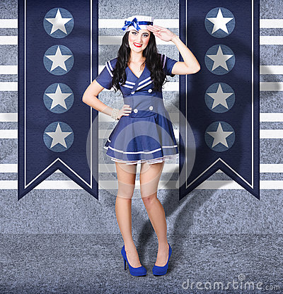 Free Young US Marine Corps Pin-up Girl. Sailor Style Royalty Free Stock Image - 32395856