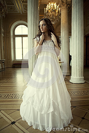 Free Young Victorian Lady In White Dress Stock Photo - 24861630