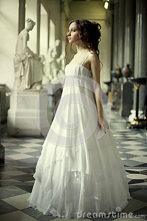 Free Young Victorian Lady In White Dress Royalty Free Stock Image - 24861716