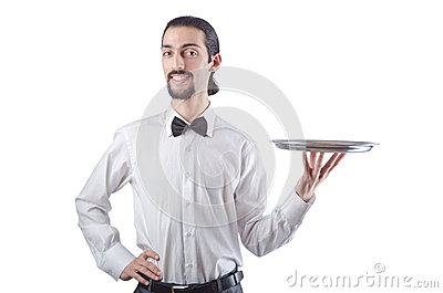 Young waiter with  tray
