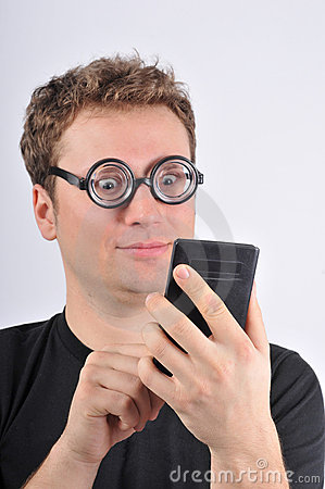 Young weird man holding calculator