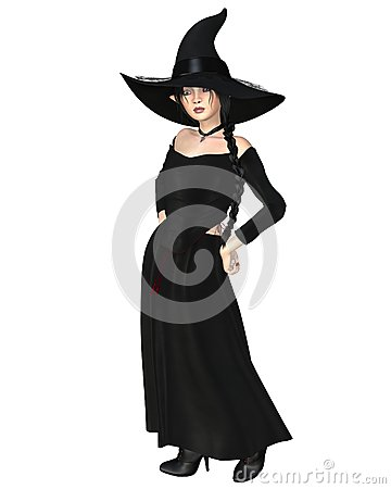 Young Witch in Black Hat and Dress