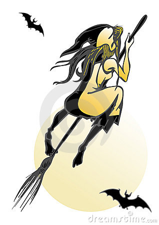 Young witch straddle broom