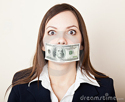 Young woman with 100 dollars on her mouth