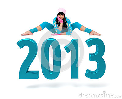 Young woman and 2013 New Year sign