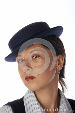 Young woman in 30 s style hat