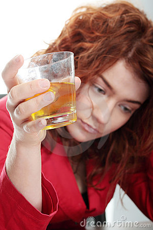 Young woman addicted to alcohol