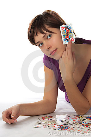 Free Young Woman And Playing Card Royalty Free Stock Image - 12860866