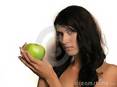 Young woman and apple
