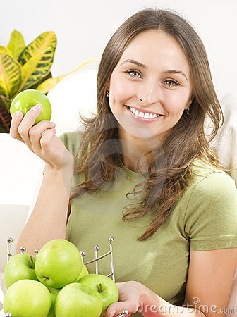 Young Woman with apples