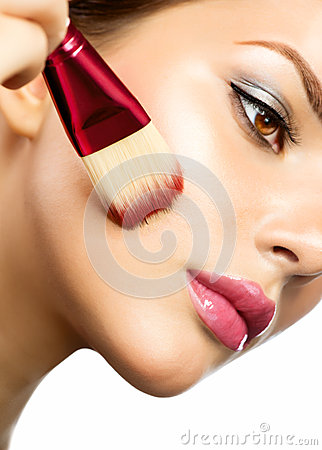 Free Young Woman Applying Makeup Stock Image - 29854601