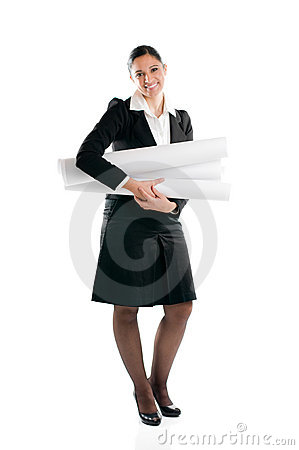 Young woman architect full length