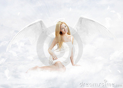 Young woman as na angel
