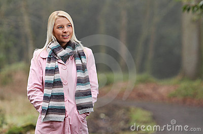 Young woman on autumn walk