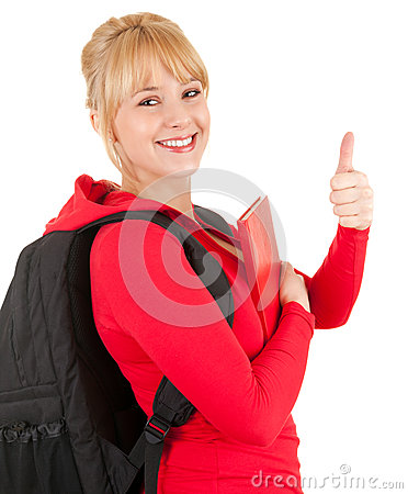 Young woman with backpack and thumb up